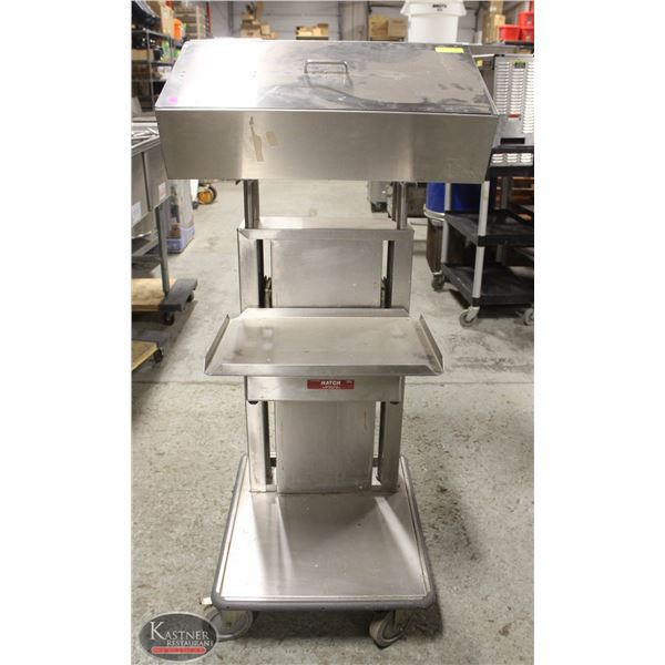 HATCH STAINLESS STEEL SPRING-LOADED TRAY CART W/
