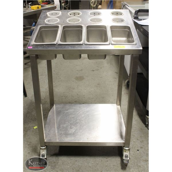 CUTLERY AND CONDIMENT STAINLESS STEEL CART