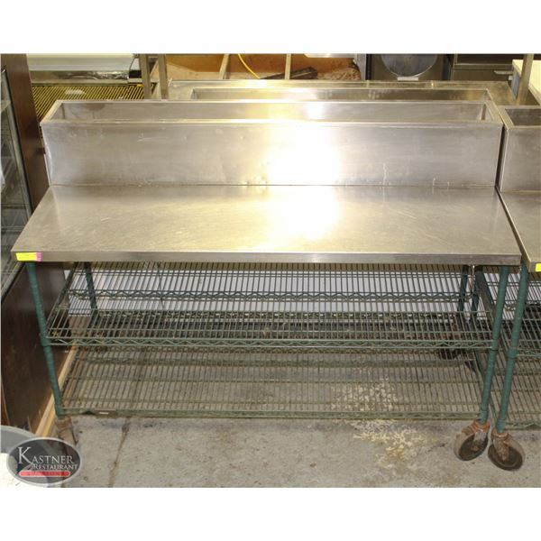 5' STAINLESS STEEL TOP PREP TABLE ON CASTERS