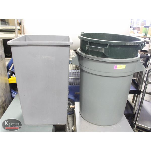 LOT 3 ASSORTED TRASH CANS INCL: 2 - 20 GALLON TRAS