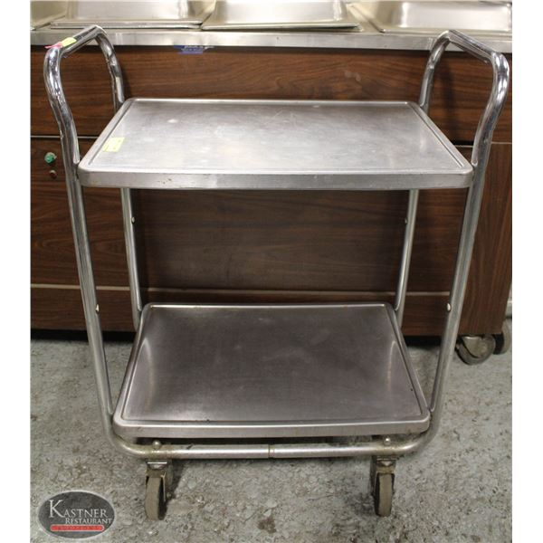 VOLLRATH STAINLESS STEEL 2 TIER BUSSING CART