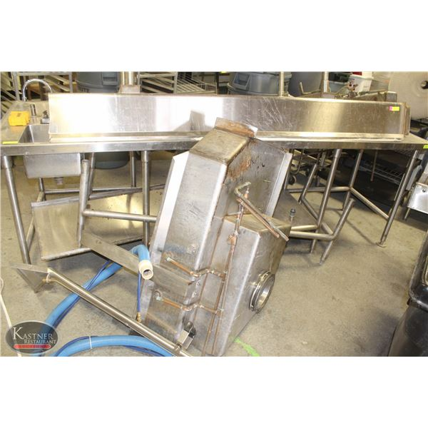 LARGE CUSTOM STAINLESS STEEL SINK ASSEMBLY *AS IS