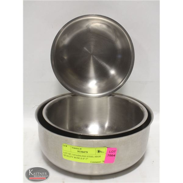 """LOT OF 3 STAINLESS STEEL HIGH QUALITY BOWLS 6""""-7"""""""