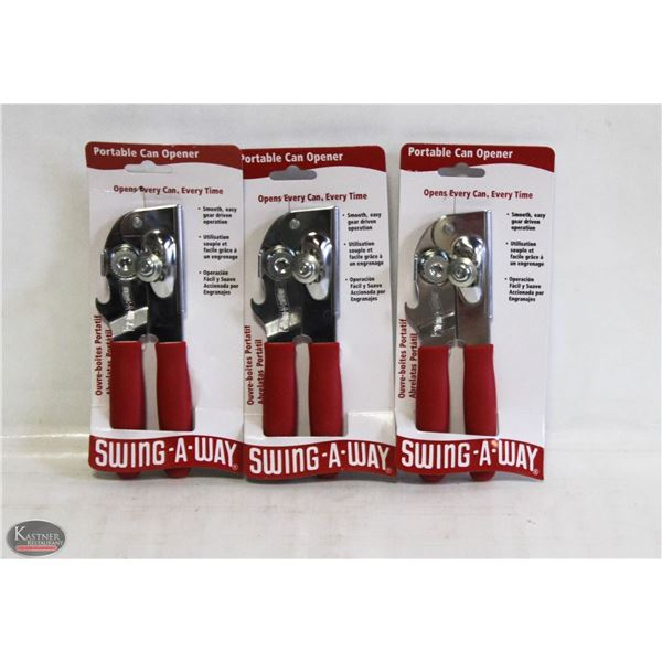 FOCUS PORTABLE RED CAN OPENER, LOT OF 3