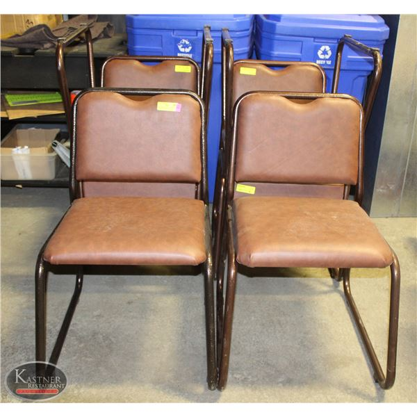 LOT OF 6 METAL AND LEATHER PADDED CHAIRS BROWN