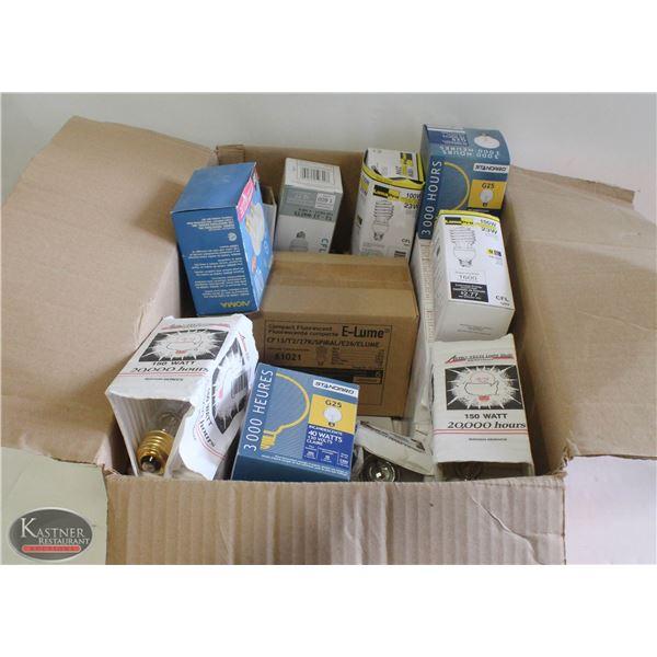 BOX OF ASSORTED SIZE LIGHT BULBS