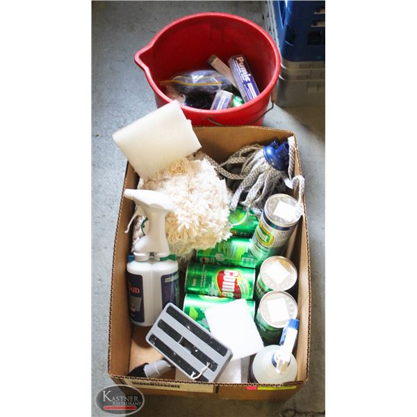 LARGE BOX OF NEW PROFESSIONAL CLEANING SUPPLIES