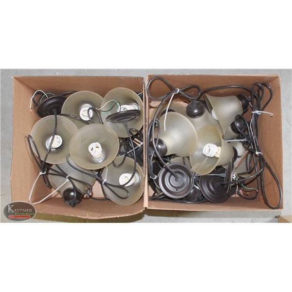 GROUP OF 15 PENDANT LIGHT FIXTURES W/ FROSTED