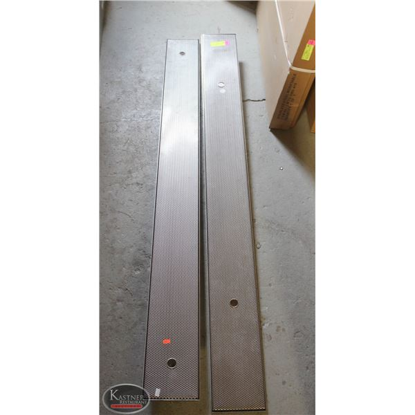 """TWO 62"""" X 2"""" BAR LINE DRIP TRAYS W/ PERFORATED"""