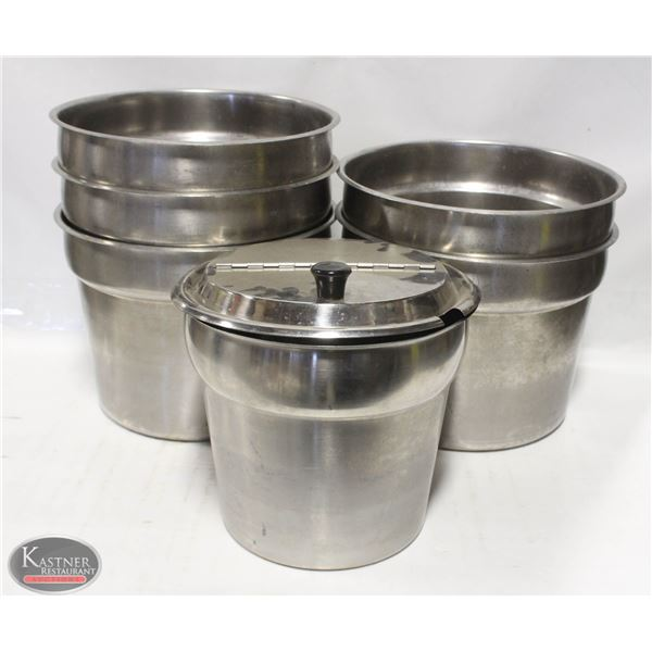 LOT OF 5 ASSORTED SIZE SOUP INSERTS W/ ONE LID