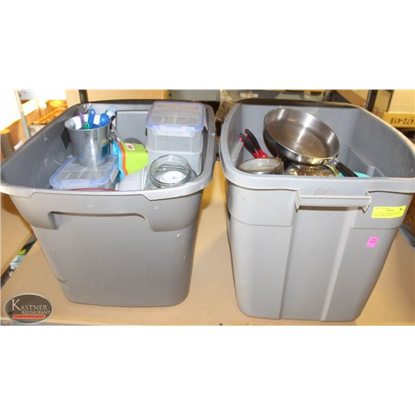 2 TOTE BINS OF MISC. KITCHEN, CONTAINERS, SCOOPS,