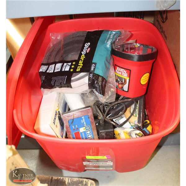 RED TOTE OF MISCELLANEOUS HAND TOOLS, HARDWARE,