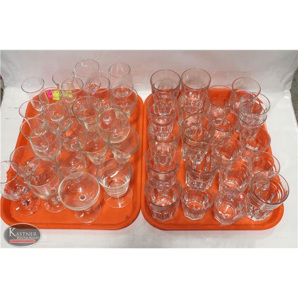 2 TRAYS W/ ROCK & WINE GLASSES (44 PIECES)
