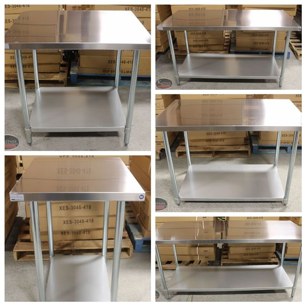 FEATURED LOTS: NEW STAINLESS STEEL WORKTABLES