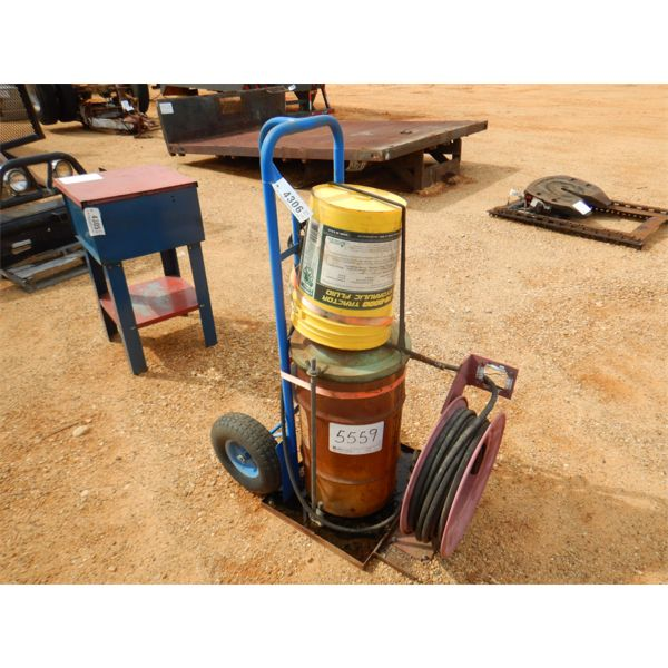 GREASE CAN W/BARREL, HOSE & REEL (A1)