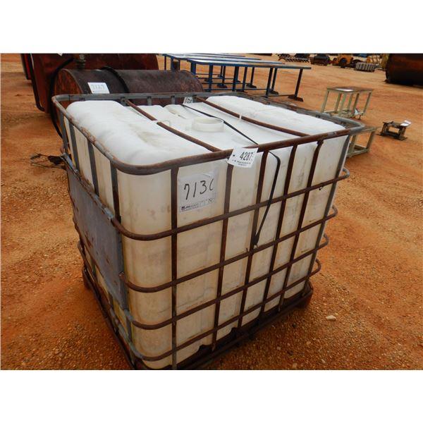 275 GALLON PLASTIC CONTAINER W/ METAL CAGE, (B-7)