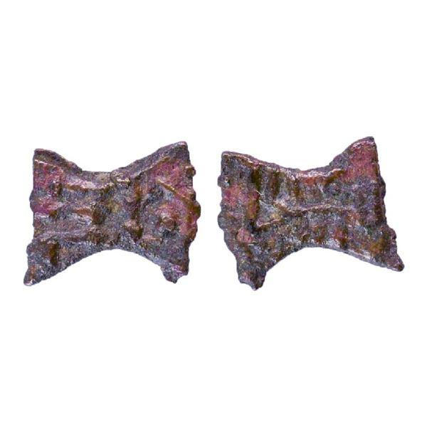 Ancient India: Post Maurya, Kaushambi Region, Uninscribed type, Damru shaped Cast Copper, 0.67gms