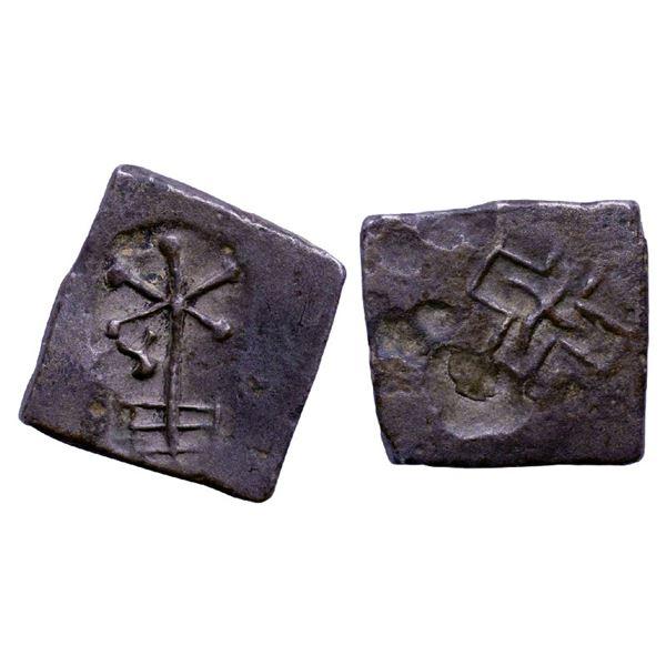Ancient India: Pre-Satavahana, Uninscribed , Prakashe Area  Punch Marked type, Copper Unit, 6.05gms