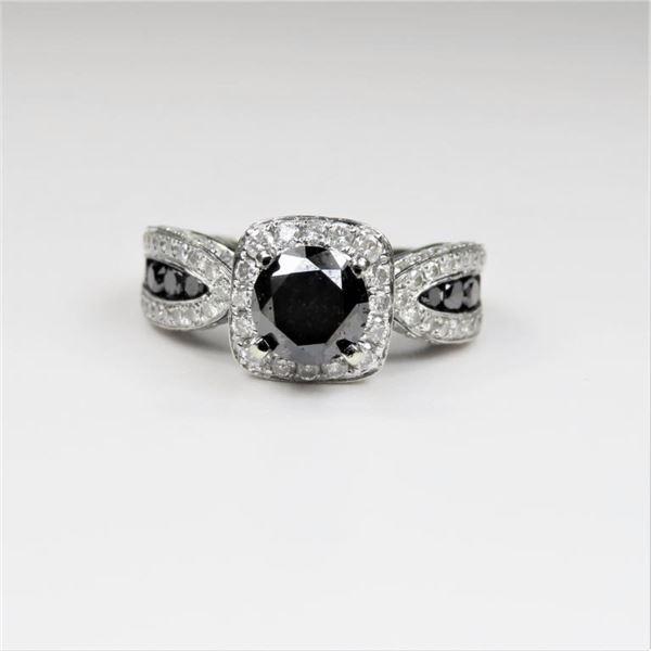 21CAI-16 BLACK & WHITE DIAMOND RING