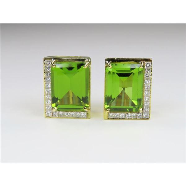 21CAI-10 PERIDOT & DIAMOND EARRINGS