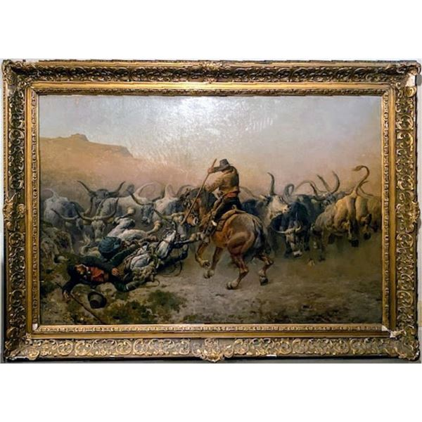 21BG-53 PAINTING OF ARGENTINE CATTLE DRIVE