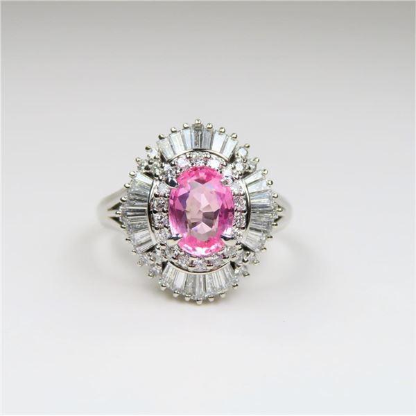 21CAI-7 PINK SAPPHIRE & DIAMOND RING
