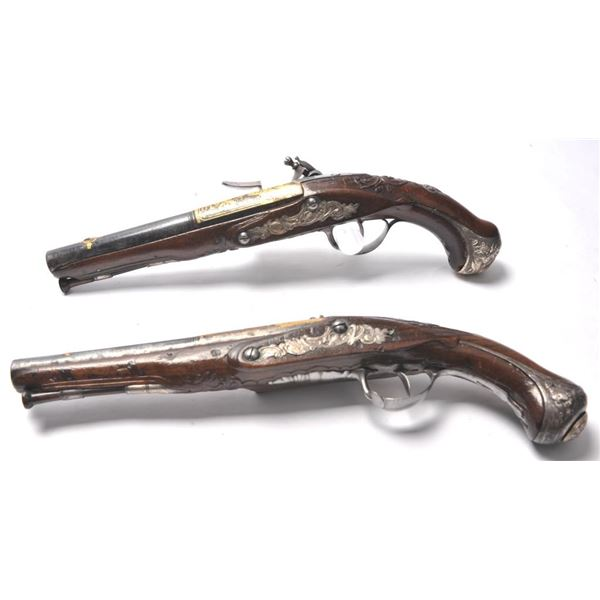 21BG-A13,128 PAIR OF SILVER MTD FRENCH F/L PISTOLS
