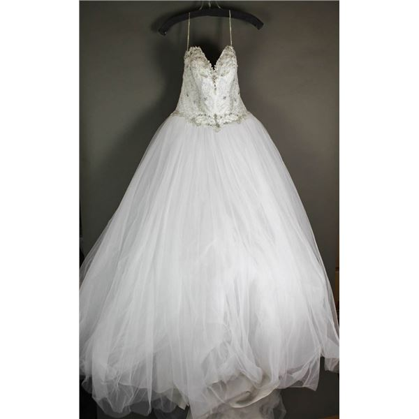 WHITE BEVERLY STRAPLESS BRIDAL GOWN; SIZE 10,