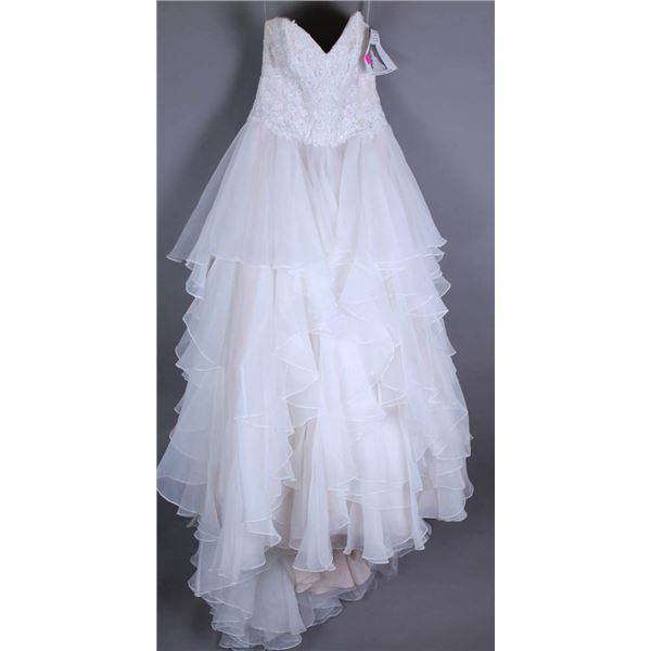 WHITE/ BLUSH WTOO WATERS DESIGNER BRIDAL GOWN;