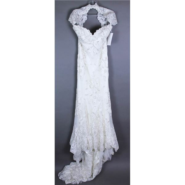 IVORY WTOO WATERS DESIGNER BRIDAL GOWN; SIZE 10,