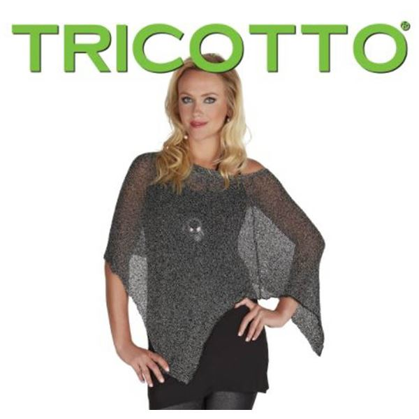 TRICOTTO O/S SHAWL COVER UP TOP; BLACK/ SILVER