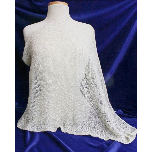 TRICOTTO O/S SHAWL COVER UP TOP; IVORY/ GOLD