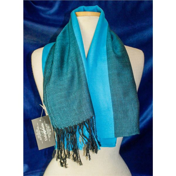 2 TONED TEAL WELLCO INK FASHION SCARF, STYLE SF035