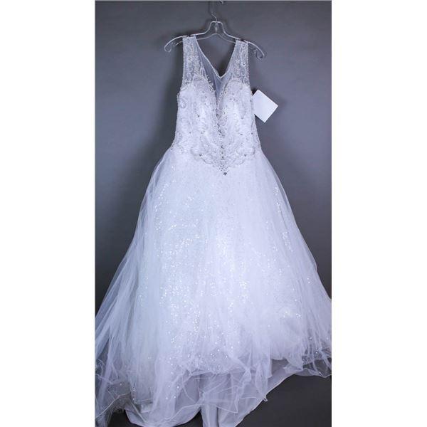 WHITE VENUS DESIGNER BRIDAL GOWN, SIZE 20