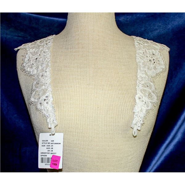 IVORY LACE & BEADED SHOULDER CAPS - BY ESSENCE OF
