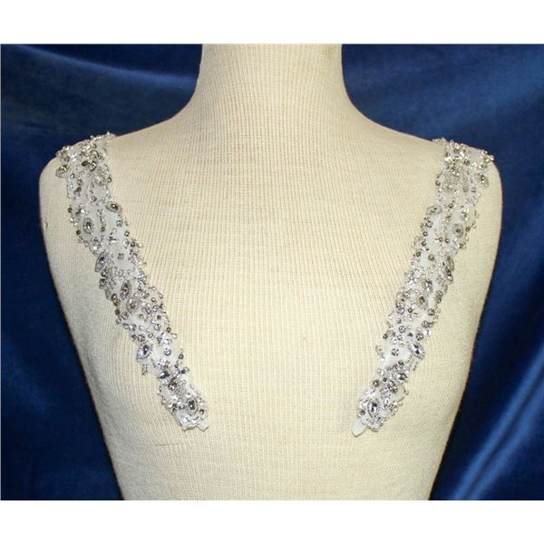 WHITE & SILVER BEADED SHOULDER CAPS - BY ESSENCE