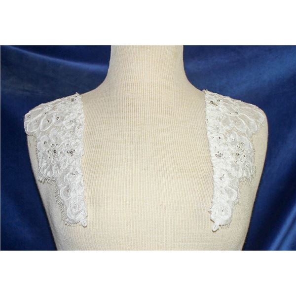 IVORY LACE BEADED SHOULDER CAPS - BY ESSENCE