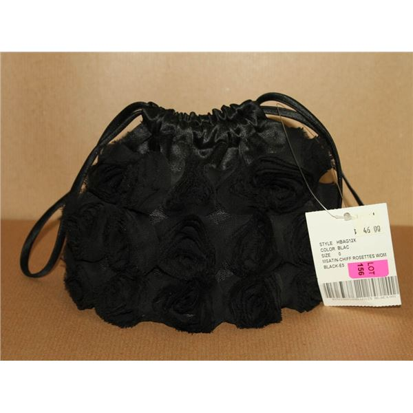 BLACK FORMAL ROSETTE STYLE HAND BAG
