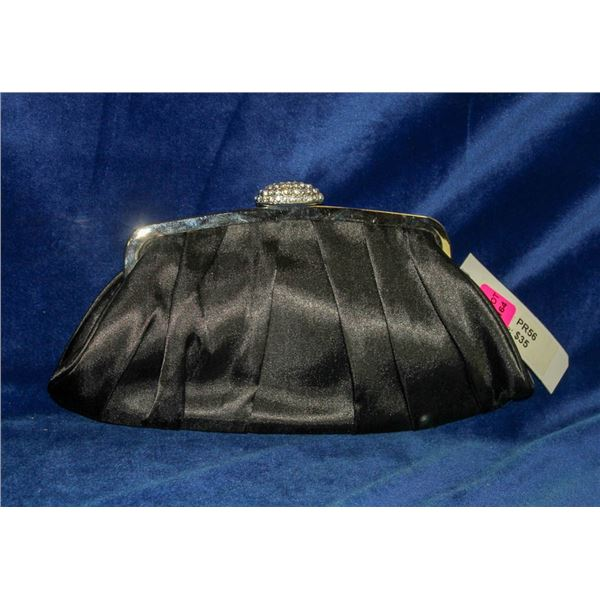 BLACK SATIN STYLE FORMAL CLUTCH BY MITCHELL