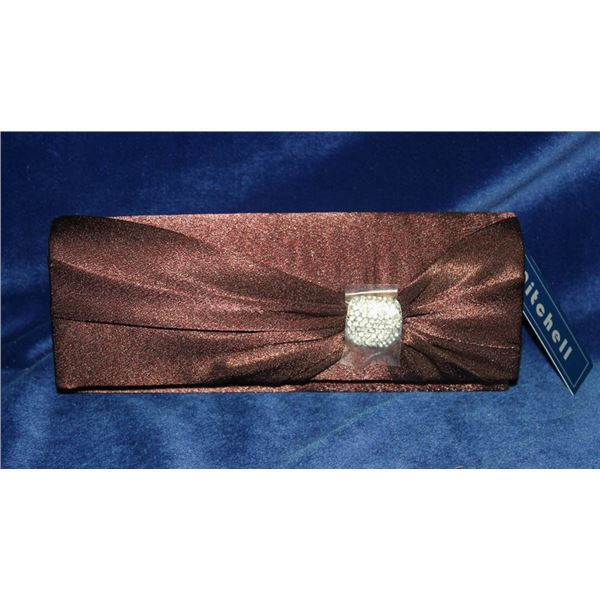CHOCOLATE BROWN SATIN STYLE FORMAL CLUTCH
