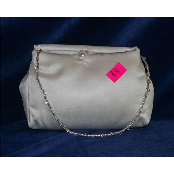 WHITE SATIN FORMAL HAND BAG WITH BEADED STRAP