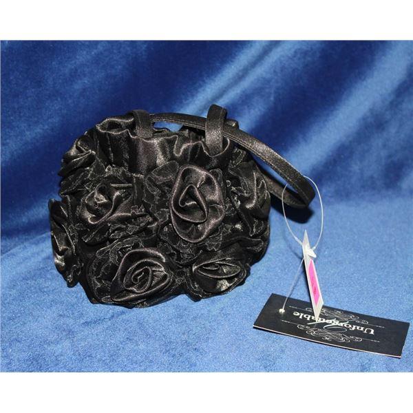 JOLENE MINI BLACK FORMAL ROSETTE STYLE HAND BAG