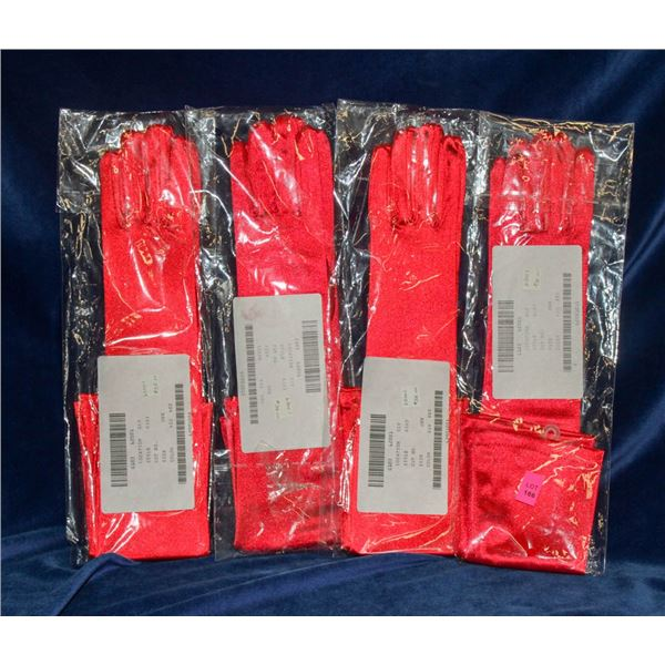 LOT OF 4 RED SATIN STYLE FORMAL GLOVES