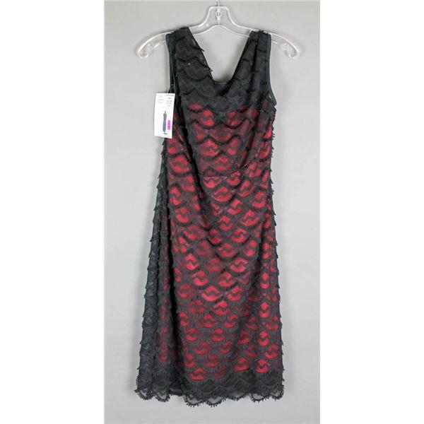 RED W/ BLACK FRINGE JOLENE DESIGNER FORMAL DRESS