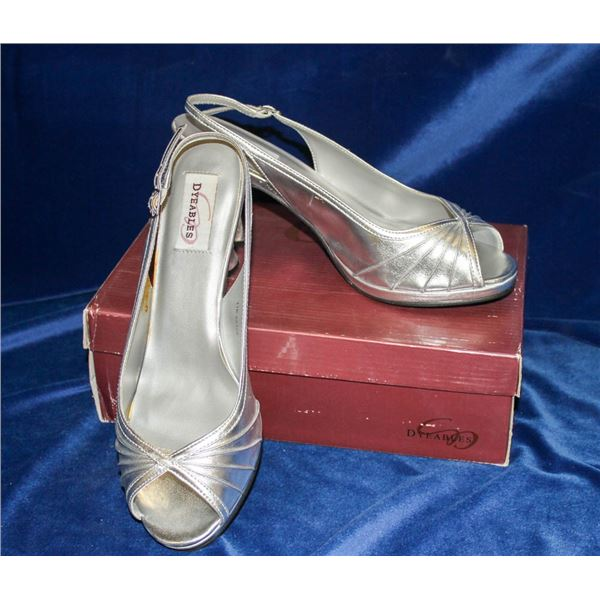 HANNAH SILVER SATIN HEELS BY DYEABLES OPEN TOE