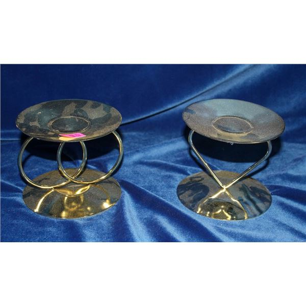 2 BRIDAL THEMED GOLD COLORED CANDLE HOLDERS;