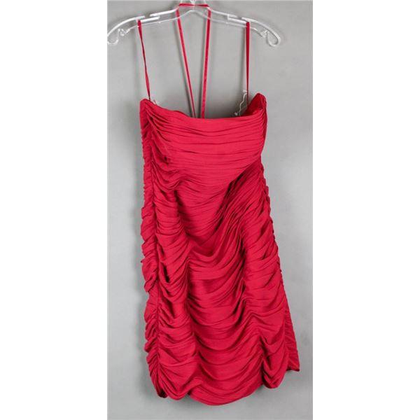 RED VENUS FORMAL DESIGNER RUFFLED COCKTAIL DRESS