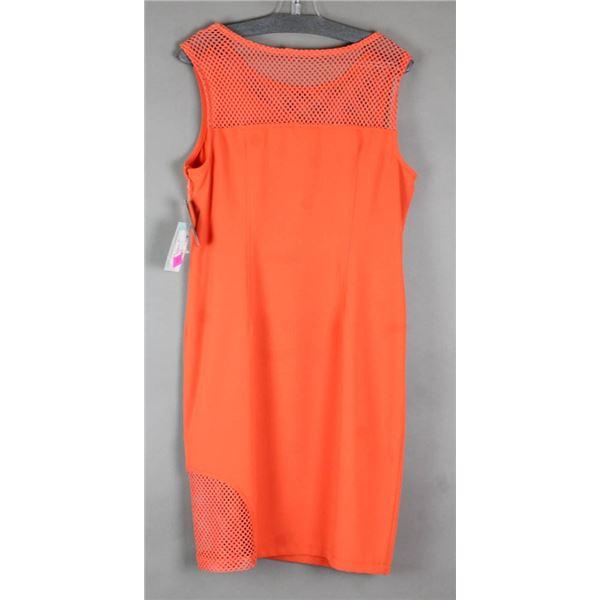 ORANGE CARTISE DESIGNER COCKTAIL DRESS; SIZE 14