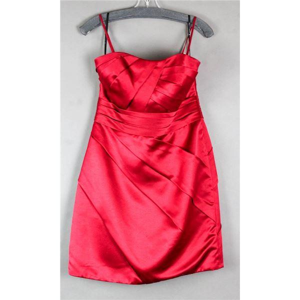 RED SORELLA VITA DESIGNER FORMAL DRESS; SIZE 14