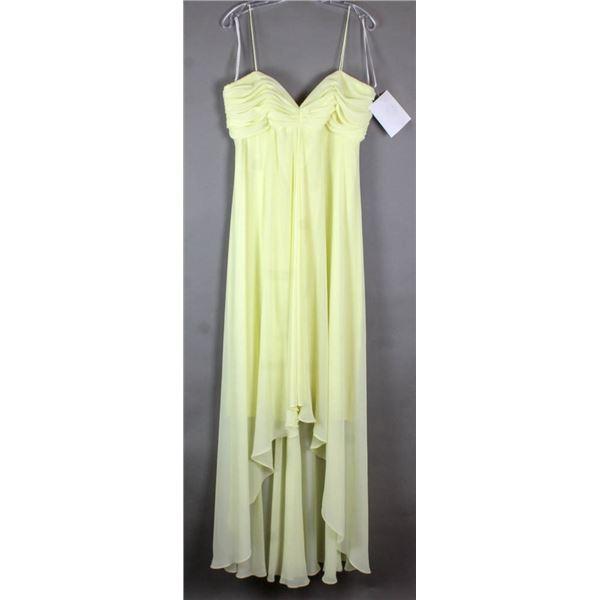 YELLOW BADGLEY MISCHKA DESIGNER FORMAL DRESS;